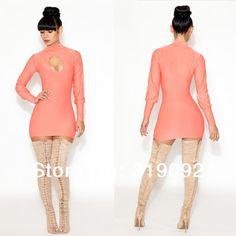 New Fashion Sexy Bandage Dress Mini Bodycon Pink Hollow Party Clubwear Evening Women Clothing