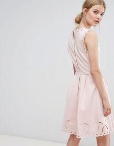 Ted Baker V Neck Embroidered Dress - Pink