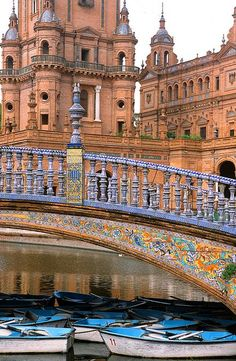 """The Plaza de España (""""Spain Square"""", in English) is a plaza located in the Parque de María Luisa (Maria Luisa Park), in Seville, Spain built in 1928 for the Ibero-American Exposition of 1929. It is a landmark example of the Renaissance Revival style in Spanish architecture."""