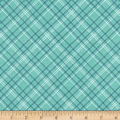 """Riley Blake Calico Days Plaid Mint from @fabricdotcom  This plaid print from the Riley Blake Designs """"Calico Days"""" collection by Lori Holt of Bee in my Bonnet is perfect for creating a fun modern look. The green, white and blue stripes are guranteed to add to touch of prep to any look. Get excited about designing uniform looks for school or the perfect baby quilt."""