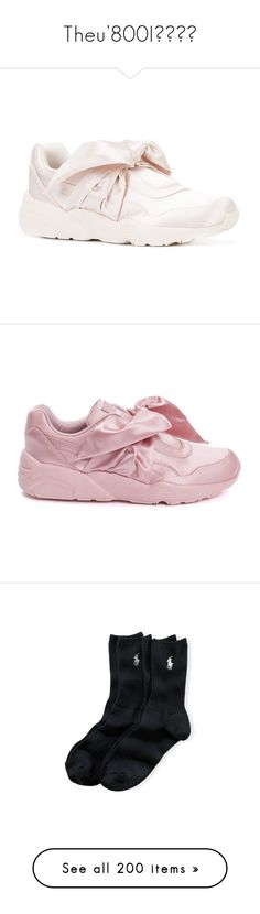 """Theu'800I"" by u800hj ❤ liked on Polyvore featuring shoes, sneakers, puma trainers, bow shoes, puma footwear, puma sneakers, puma shoes, flats, sapatos and pink"