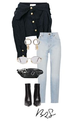 """""""#909"""" by blendingtwostyles ❤ liked on Polyvore featuring Faith Connexion, Yves Saint Laurent, Balenciaga, Alexander Wang and Versace"""