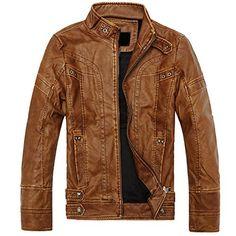 GRMO-Men Stylish Faux Leather Plus Size Bomber Biker Jacket Coat Coffee US M
