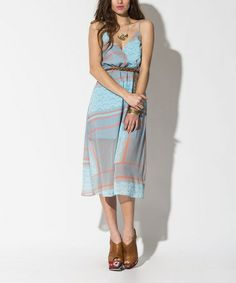 Look what I found on #zulily! Blue & Coral Paradise Awaits Midi Dress by Ladakh #zulilyfinds