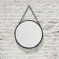 Wandspiegel Spiegel Schwarz rund mit Eco-Leder Gürtel zum ...