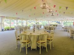 #vintage #bunting #classic look marquee interior for this wedding reception at Hungarian Hall