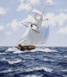 Brereton James. Картины маслом море. The Schooner H.M.S. Pickle, c.1992
