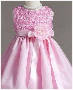 Pink Rosette Flower girl dress at goo goo gaa gaa, Children's Boutique. Other styles at www.googoogaagaa.com