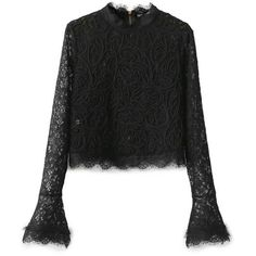 Black High Neck Belle Sleeve Mesh Lace Blouse (406.115 IDR) ❤ liked on Polyvore featuring tops, blouses, high neck blouse, stretch blouse, high neck top, lace mesh top and long sleeve blouse