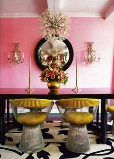 A Divine Dining Room. In yellow Platner chairs around a glossy black table in the glow of pretty pink walls. Interior Design: Betsey Johnson for her New York home. Home Interior, Interior And Exterior, Interior Decorating, Modern Interior, Decorating Ideas, Decor Ideas, Pastel Interior, Room Ideas, Yellow Interior