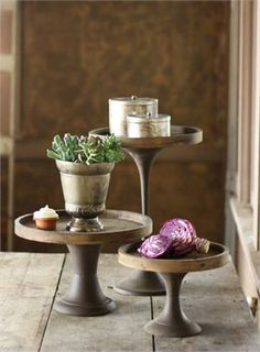 These bakersfield wood and metal pedestals are perfect for a rustic wedding.