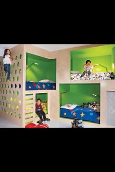 Bunkbed. Love the climbing wall!  If only we had room for this, seriously cool
