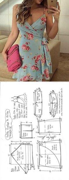 Платье с запахом. Выкройка на евро размеры 36-56
