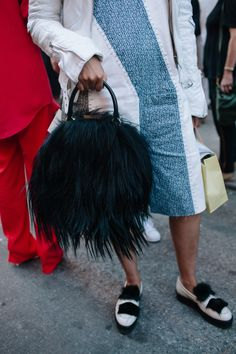 Fur on the scene at #NYFW. [Photo: Liz Devine]