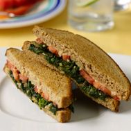 "Red, White, and Green Grilled Cheese Healthier Classics - So good, your children might not even notice the ""green stuff"" Healthy Family Meals, Heart Healthy Recipes, Healthy Eating Recipes, Kids Meals, Vegetarian Recipes, Farmers Market Recipes, Dinner Entrees, Eating Organic, Greens Recipe"