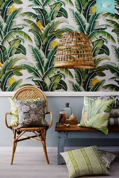 Home Decorating DIY Projects : Tropical beach interior with cane chair palm print wallpaper & cushions & cane pendant light Interior Tropical, Design Tropical, Tropical Home Decor, Tropical Style, Tropical Houses, Tropical Furniture, Tropical Prints, Tropical Kitchen, Tropical Heat