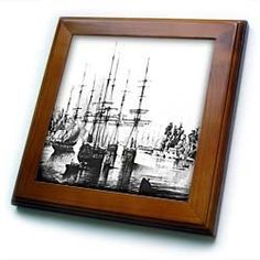 """1842 Sketch Of Ships Arriving In Tahiti - 8x8 Framed Tile by 3dRose. $22.99. Dimensions: 8"""" H x 8"""" W x 1/2"""" D. Keyhole in the back of frame allows for easy hanging.. Cherry Finish. Inset high gloss 6"""" x 6"""" ceramic tile.. Solid wood frame. 1842 Sketch Of Ships Arriving In Tahiti Framed Tile is 8"""" x 8"""" with a 6"""" x 6"""" high gloss inset ceramic tile, surrounded by a solid wood frame with pre-drilled keyhole for easy wall mounting."""