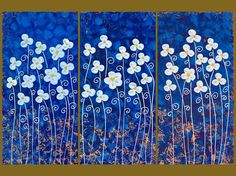 """""""White Flowers on Blue"""": Original Acrylic Painting on Stretched Canvas"""