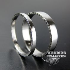 Set Recycled Palladium Wedding Rings Textured Edges 2mm and 4mm. $510.00, via Etsy.