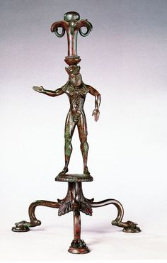 A Magnificent and Important Etruscan Bronze Thymiaterion Bronze, Late Archaic, Early 5th century B.C.E. H. 14 1/2 in. (36.9 cm.) Most probably from Vulci