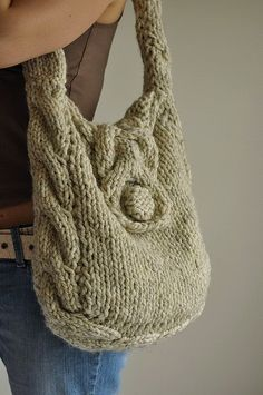 Items similar to Texture cable shoulder bag hand knit hobo designer crossbody messenger school bag - Soul of a Vagabond in wheat cream or CHOOSE YOUR COLOR on Etsy Knitting Projects, Crochet Projects, Hand Knitting, Knitting Patterns, Creation Couture, Craft Bags, Knitted Bags, Knit Bag, Cheap Bags
