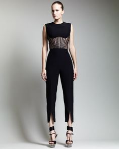 Alexander McQueen Corseted Lace Top & High-Waist Slit Cropped Pants - Bergdorf Goodman