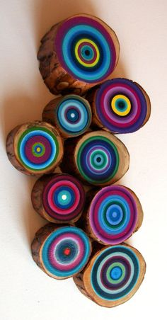 Tree Rings Set of 9 Ready To Ship Abstract by HeatherMontgomeryArt, $175.00