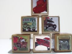 Disney Cars Storybook Blocks / Book Blocks /  Natural Wood Toy / Baby Shower Gift / Personalize