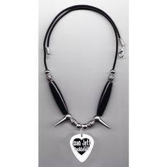 Joan Jett and the Blackhearts Guitar Pick Necklace ($15) ❤ liked on Polyvore featuring jewelry, necklaces, spike necklace, cord jewelry, spikes jewelry, long beaded necklace and beading jewelry