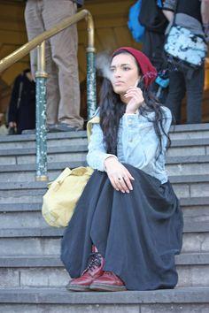 black maxiskirt, jeans-jacket, boots & beanie