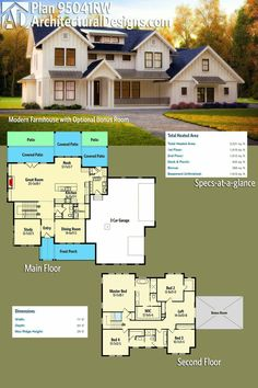 Perfect Architectural Designs Modern Farmhouse Plan Gives You Over Square Feet Of  Heated Living Space PLUS Bonus Expansion Over The Garage.