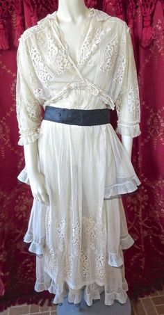 Edwardian 1910s Titanic Era Antique Net Lace Tiered Dress Embroidery Orig. Belt   eBay
