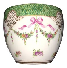 Dresden Cachepots Ribbon and Floral - A Pair on Chairish.com