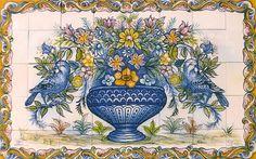 Hand-painted azulejos tiles in Tavira Portugal Tile Murals, Tile Art, Mosaic Art, Mosaic Tiles, Portugal, Paisley Art, Art Nouveau Tiles, Garden Deco, Ceramic Wall Tiles