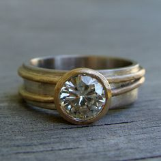 Moissanite Ring - Forever Brilliant - Recycled 14k Yellow Gold & 18k Palladium White Gold Alternative Engagement Ring, Made to Order by McFarlandDesigns on Etsy https://www.etsy.com/listing/174425543/moissanite-ring-forever-brilliant