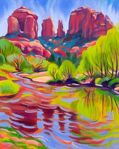 "Tracy Turner New Works Gallery  Spring at Red Rock Crossing  20""x 16"" oil on panel  original art available $1,800 Giclee print available"