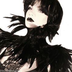 GOTHIC EXOTICA BASIC BLACK ROOSTER FEATHER COLLAR DRAG QUEEN STEAMPUNK WHITBY