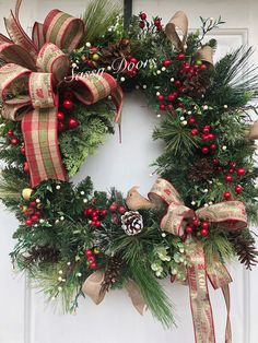 Christmas Wreath, Farmhouse Plaid Christmas Wreath, Traditional Christmas Wreath, Rustic Christmas Wreath, Sassydoors Wreath - New Ideas Farmhouse Christmas Decor, Rustic Christmas, Christmas Crafts, Woodland Christmas, Christmas Door Decorations, Holiday Wreaths, Holiday Decor, Christmas Berries, Red Christmas