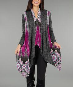 Look at this #zulilyfind! Deep Gray & Fuchsia Abstract Sidetail Cardigan - Plus #zulilyfinds