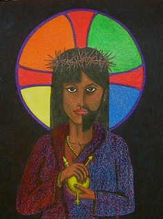 """It's almost impossible to find a Christ figure that expresses both LGBTQ identity AND non-white racial / ethnic identity. """"Neither"""" by David Hayward is one of these uncommon treasures. Trans Day Of Visibility, Lgbt, Images Of Christ, Prints For Sale, Black Art, Les Oeuvres, My Images, Fine Art Prints, Poster Prints"""
