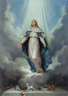 """4th Glorious Mystery - The Assumption      """" A great sign appeared in the sky, a woman clothed with the sun, with the moon under her feet, and on her head a crown of twelve stars."""" (Rev 12:1)"""