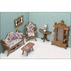 Miniture Dollhouse, Wooden Dollhouse Kits, Miniature Houses, Dollhouse Miniatures, Library Furniture, Doll Furniture, Dollhouse Furniture, Living Room Furniture, Bathroom Furniture