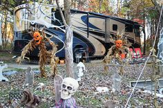 The kids LOVE to tent camp here in October for their Halloween weekends. Halloween Site Decorating during 2014 Halloween Weekends at Lake Rudolph. Halloween Camping Decorations, Tent Decorations, Fall Halloween, Haunted Halloween, Halloween Desserts, Halloween Ideas, Halloween Party, Family Camping, Go Camping