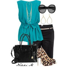Teal and Leopard Print, created by nicholemenard on Polyvore