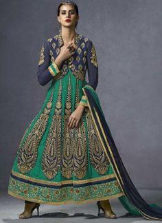 Megnetic Green And Blue Embroidery Resham Work Anarkali Salwar Suit