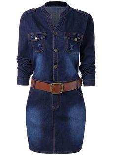 Plus Size Fitted Denim Jean Dress with Belt - BLUE XL