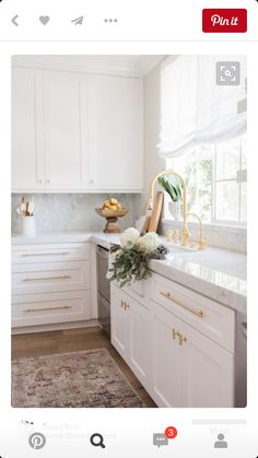 Looking in on this dreamy corner this Friday afternoon. photography by Kitchen, light and bright, white kitchen, marble and gold kitchen, Classic Kitchen, New Kitchen, Kitchen Dining, Kitchen Decor, Kitchen Cabinets, Kitchen Pulls, Kitchen Sink, Shaker Cabinets, Natural Kitchen