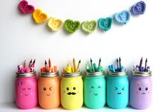 Learn how to make these colorful mason jars. Perfect for organizing pens, pencils and crayons in a craft room, classroom or playroom.