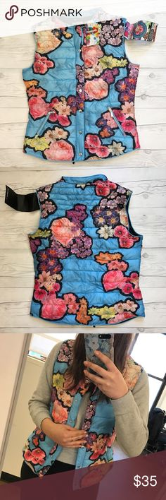Desigual lightweight puff vest Desigual lightweight puffy vest Fits a size small/medium well Light blue and floral design Snap down front This was a sample, so it does have some imperfection in coloring on the front. Barely noticeable. Priced accordingly. NWT Desigual Jackets & Coats Vests