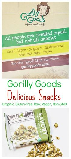 Gorilly Goods Giveaway and Review! Sign up for a chance to win a box of delicious, organic, vegan, raw, gluten-free, non-GMO snacks that taste amazing and are so good for you. www.veganosity.com